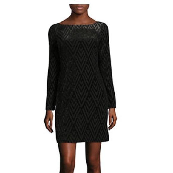 63f58abe109f Vince Camuto velvet black   gold shift dress